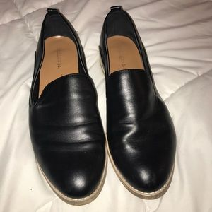 Black with wood base loafers